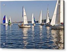 Sailing On Elliott Bay Acrylic Print by Tom Dowd