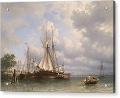 Sailing Ships In The Harbor Acrylic Print by Anthonie Waldorp