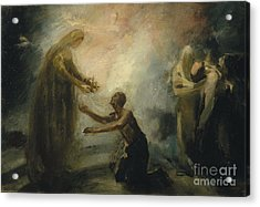 Saint Isabel Offering The Queen's Crown To A Beggar Acrylic Print by Celestial Images