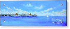 Acrylic Print featuring the painting San Clemente Pier by Mary Scott