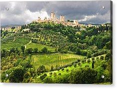 San Gimignano Tuscany Italy Acrylic Print by Carl Amoth