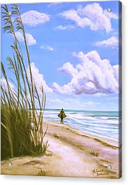 Acrylic Print featuring the painting Sanibel Surfer  by Melinda Saminski