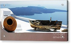 Santorini Greece Acrylic Print by Bob Christopher