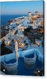 Santorini Skyline Acrylic Print by Songquan Deng