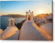 Santorini Skyline Sunset Bell Acrylic Print by Songquan Deng