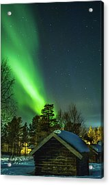 Sapmi Village Under The Northern Lights Karasjok Norway Acrylic Print