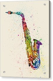 Saxophone Abstract Watercolor Acrylic Print by Michael Tompsett