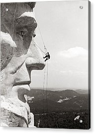 Scaling Mount Rushmore Acrylic Print by Granger