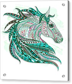 Sea Green Ethnic Horse Acrylic Print