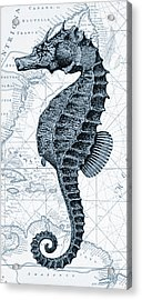 Sea Horse Nautical Chart Acrylic Print