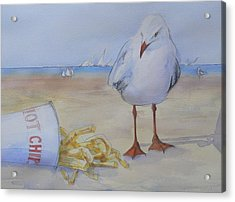 Seagull And Hot Chips Acrylic Print by Tony Northover
