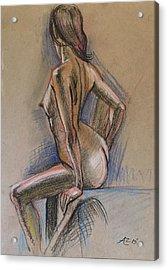 Seated Nude Acrylic Print by Alejandro Lopez-Tasso
