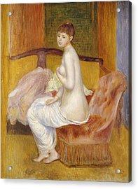 Seated Nude Acrylic Print by Pierre Auguste Renoir
