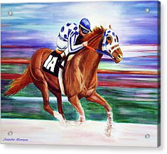 Secretariat Painting Blurred Speed Acrylic Print by Jennifer Godshalk