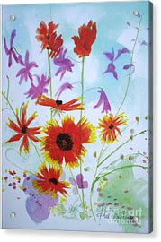 Selected Wild Flowers Acrylic Print by Hal Newhouser