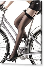 Sexy Woman Riding A Bike Acrylic Print