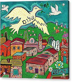 Shalom Over Tzfat Acrylic Print