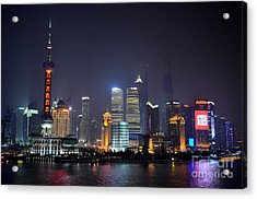 Shanghai China Skyline At Night From Bund Acrylic Print