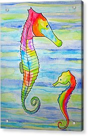 Acrylic Print featuring the painting Shave-ice Seahorses by Erika Swartzkopf