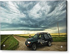 Shelf Cloud Near Vibank Sk. Acrylic Print by Ryan Crouse