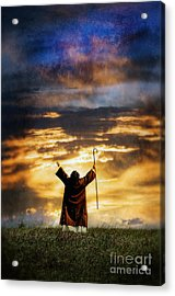 Shepherd Arms Up In Praise Acrylic Print by Jill Battaglia