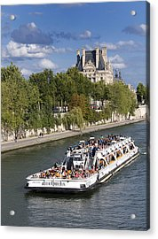 Sightseeing Boat On River Seine To Louvre Museum. Paris Acrylic Print