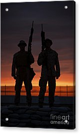 Silhouette Of U.s Marines On A Bunker Acrylic Print by Terry Moore