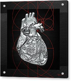 Silver Human Heart On Black Canvas Acrylic Print