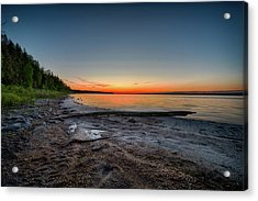 Acrylic Print featuring the photograph Skeleton Lake Beach At Sunset by Darcy Michaelchuk