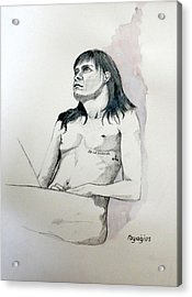 Acrylic Print featuring the painting Sketch For White Amber by Ray Agius