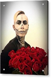 Skull Tux And Roses Acrylic Print by Kent Chua