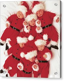 Sleepy Santas Acrylic Print by Anne Geddes