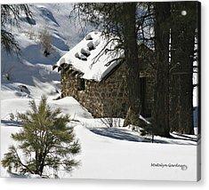 Snow Cabin Acrylic Print