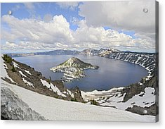 Snow On Crater Lake Hdr Acrylic Print