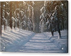 Acrylic Print featuring the painting Snowy Road by Ken Ahlering