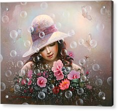 Soap Bubble Girl - Rose Sharon Of Song Acrylic Print