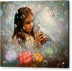Soap Bubble Girl Acrylic Print