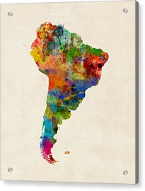 South America Watercolor Map Acrylic Print