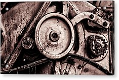 Soviet Ussr Combine Harvester Abstract Cogs In Monochrome Acrylic Print by John Williams