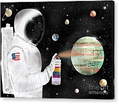 Acrylic Print featuring the painting Space Graffiti by Bri B