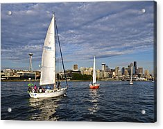 Space Needle Sail By Acrylic Print by Tom Dowd