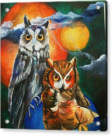 Space Owls Acrylic Print by Andrea  Darlington