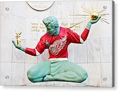 Spirit Of Detroit In Red Wing Jersey Acrylic Print by James Marvin Phelps