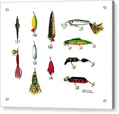 Sport Fishing Spinners Spoons And Plugs Acrylic Print by Sharon Blanchard