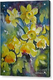 Acrylic Print featuring the painting Spring Flowers by Elena Oleniuc