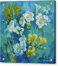 Acrylic Print featuring the painting Spring Fragrances by Elena Oleniuc
