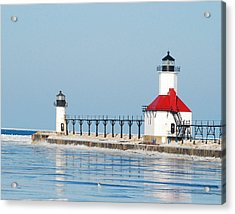 St Joseph North Pier Lights Acrylic Print by Michael Peychich