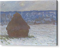 Stack Of Wheat Snow Effect, Overcast Day Acrylic Print by Claude Monet