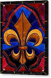 Stained Glass Fleur De Lis Acrylic Print by Elaine Hodges