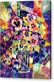 Stained Glass Pansies Acrylic Print